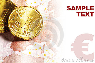 Euro cent coins on banknote