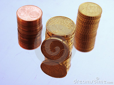 Euro cent pile