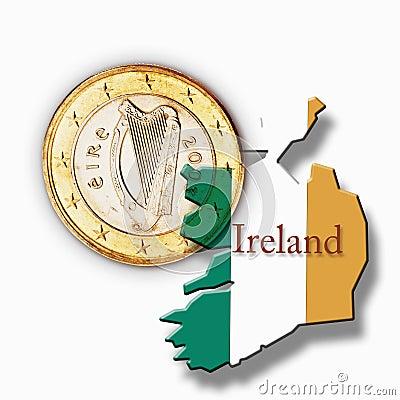 Free Euro Coin And Irish Flag Against White Background Stock Photo - 50481260