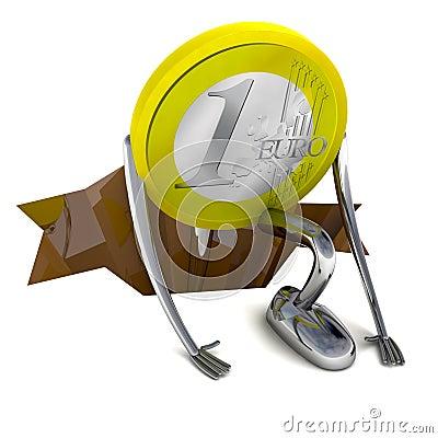 Euro coin climb from hole  illustration