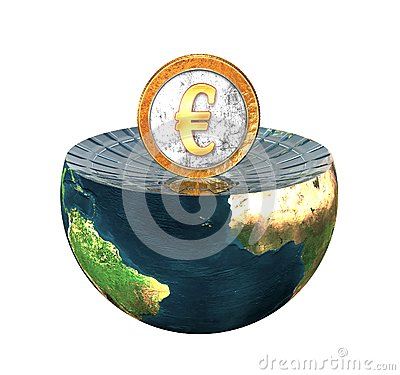 Euro coin on earth hemisphere isolated on a white