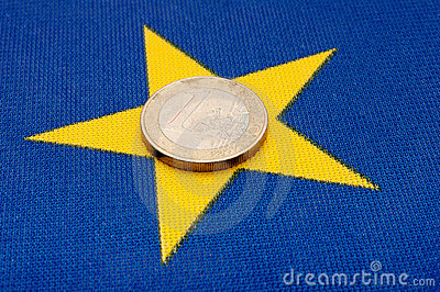 Euro Coin on EU Flag