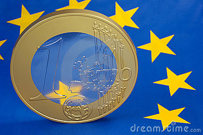 Euro-coin on Euro-Flag