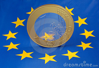 Euro coin on european flag