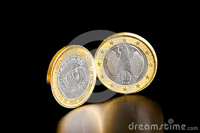 Euro coin of germany and spain