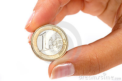 Euro coin in hand