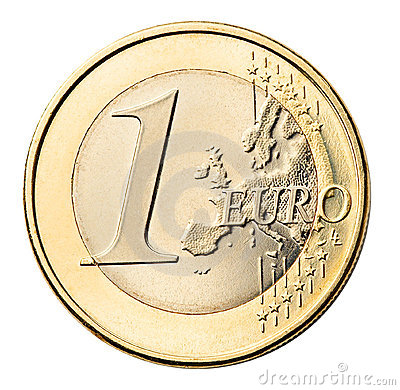 Euro coin isolated on white