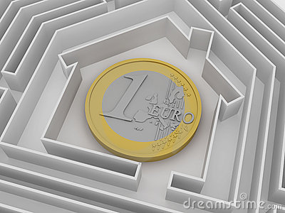 Euro coin in labyrinth.