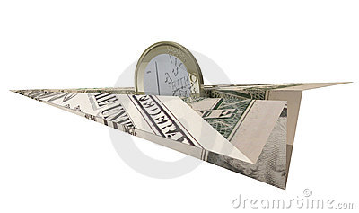 Euro coin riding dollar paper plane