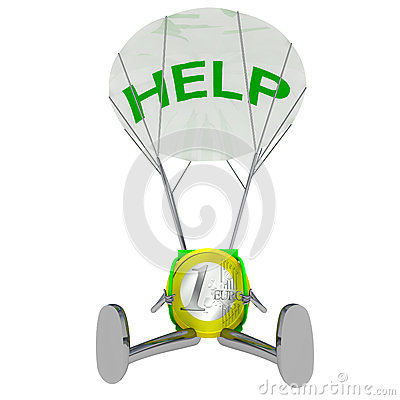 Euro coin robot paratrooper airdrop help illustration