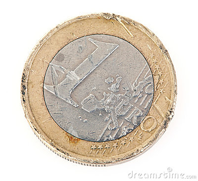 Euro coin with scratches