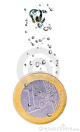 Euro coin sinking in water
