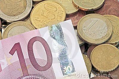 Euro coins with 10 euro billet