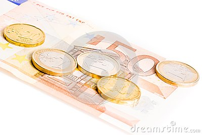Euro coins on 50-euro banknotes