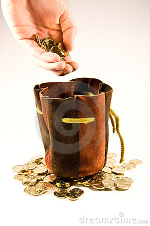 Euro coins and bag