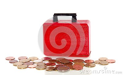 Euro coins and a briefcase