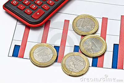 Euro coins on business graph