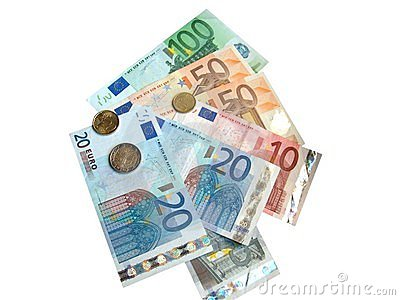 Euro coins and euro banknotes on white