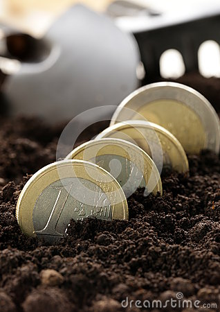 Euro coins grow from the ground