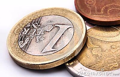 Euro coins macro