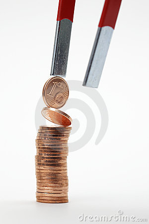 Euro coins with magnet