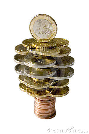 Euro coins money tree isolated on white background