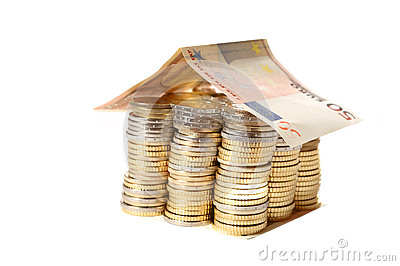 Euro Coins pile House with banknote roof