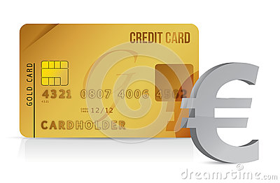 Euro credit card concept illustration design