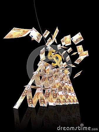 Euro crollo della torretta dal colpo del dollaro