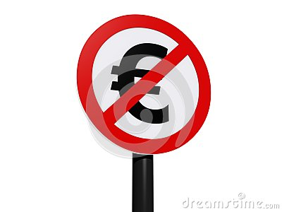 Euro currency prohibited sign