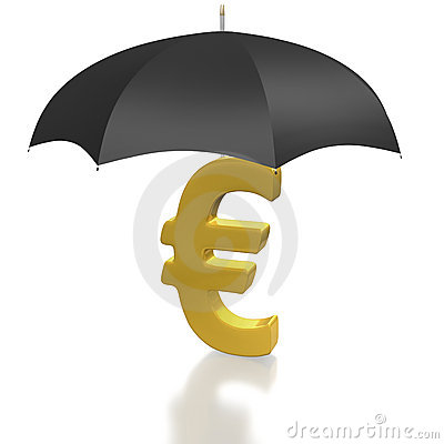 Euro currency sign protected by umbrella