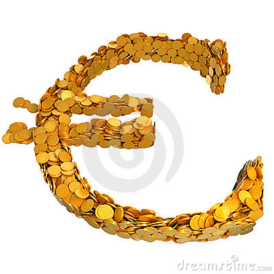 Euro currency symbol assembled with coins