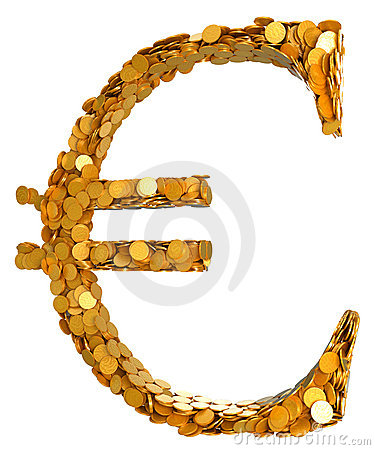 Euro currency. Symbol assembled with coins