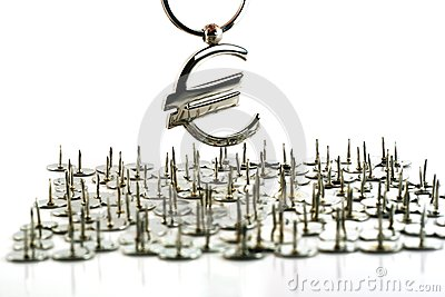Euro currency symbol on drawing pins