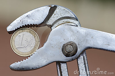 Euro currency under pressure Editorial Stock Image