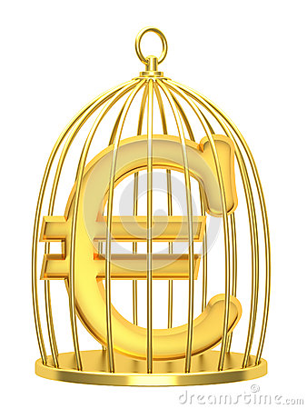 Euro do sinal em uma gaiola
