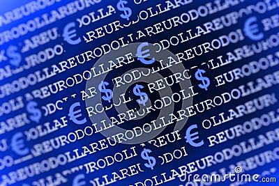 Euro-dollar background in blue