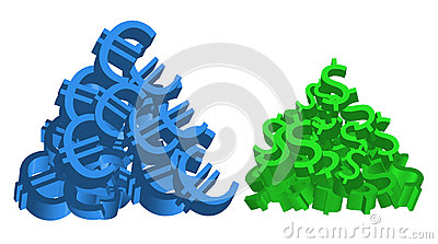 Euro and Dollar Piles