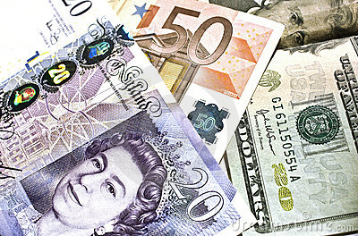 Euro, dollar, pound