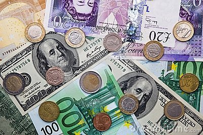 Euro, Dollar, Pound - Banknotes and Coins