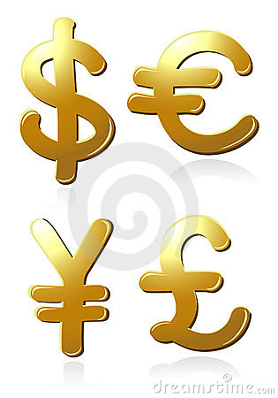 Euro, dollar, pound and yen