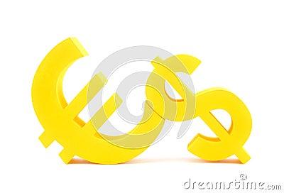 Euro with dollar symbols