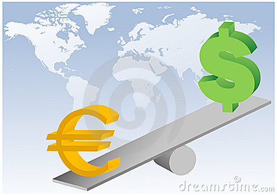 Euro and dollar symbols on seesaw illustration