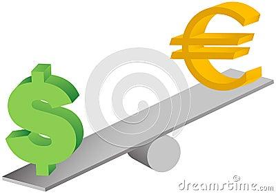 Euro and dollar symbols on seesaw illustration