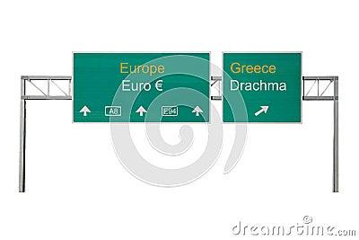 Euro-Drachma road sign