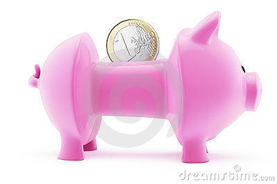 Euro in emptied piggy bank