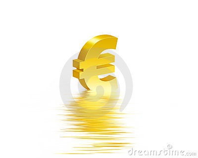 Euro gold symbol whit reflection water