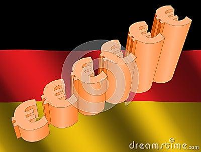 Euro graph on German flag