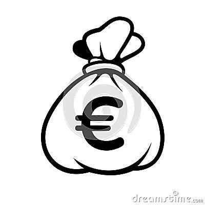 euro ic ne d 39 argent avec le sac vecteur illustration de vecteur image 40657476. Black Bedroom Furniture Sets. Home Design Ideas