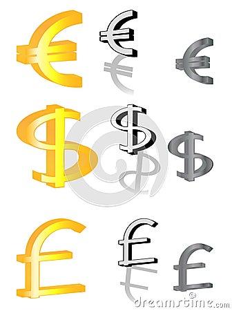 Euro, libra y dólar